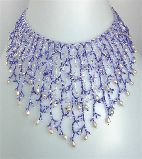 bead necklace tutorial patterns pattern seed beaded necklace netting stitch tutorial