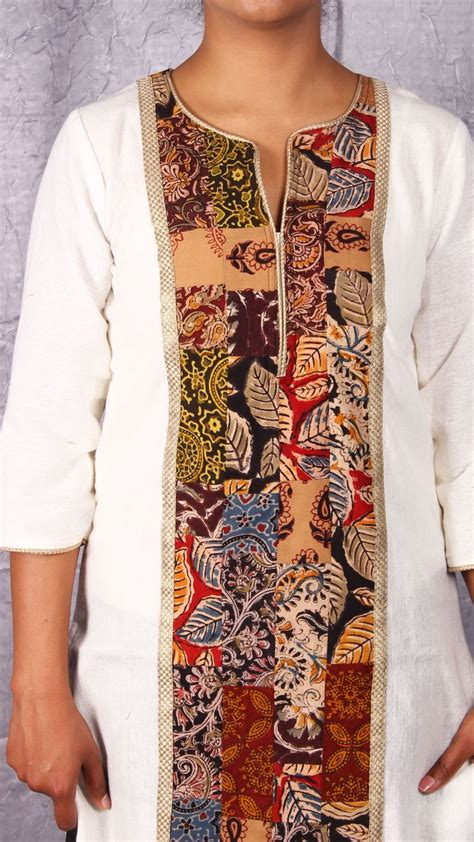 yoke pattern kurti white kurta with kalamkari patch work yoke from www