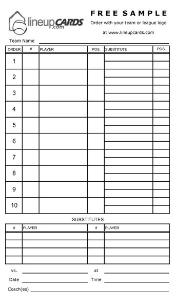 lineup card template free softball lineup cards search engine at search