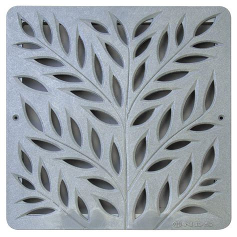 12 in plastic botanical design square decorative grate in
