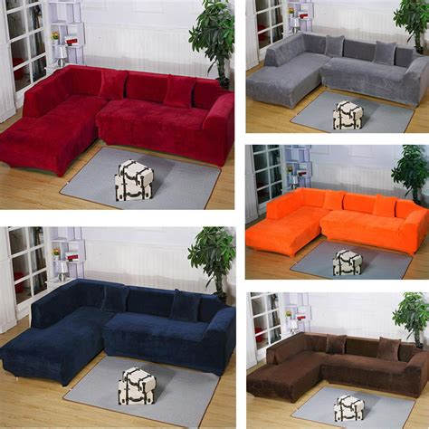 slipcover for l shaped sofa 2seats 3seats plush stretch sure fit l shaped sectional