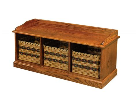 bench baskets jake s amish furniture 50 25 bench with pull out baskets
