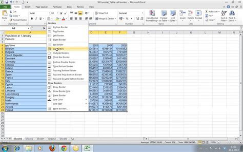 Adding An Automatic Outline In Excel 2010 by How To Add Borders To Cells In Excel 2010