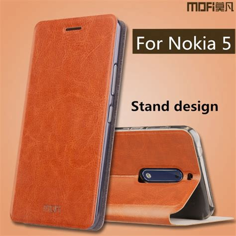for nokia 5 flip cover leather silicone back