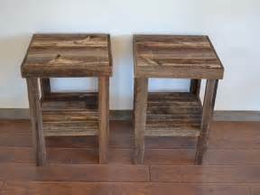 Wooden End Tables Eco Friendly Barnwood Wood End Table Or Stand Pair