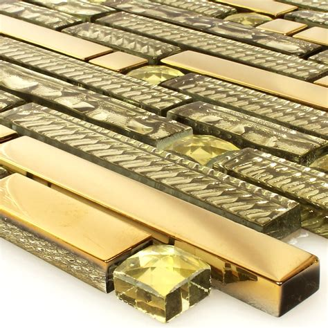 fliese gold glasmosaik fliesen strukturmix gold 15x62x8mm fl90032m