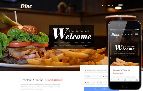 free bootstrap templates for online food order dine a restaurants category bootstrap responsive web template