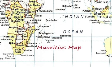 mauritius on a world map map of mauritius