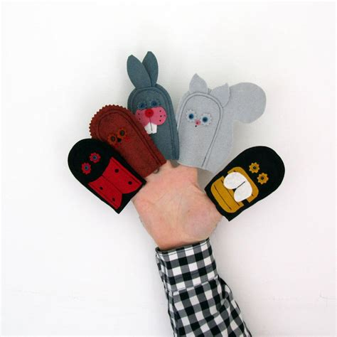 Handmade Finger Puppets - handmade felt woodland friends finger puppets by