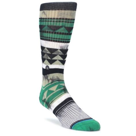triangle pattern socks green black triangle pattern men s casual socks stance