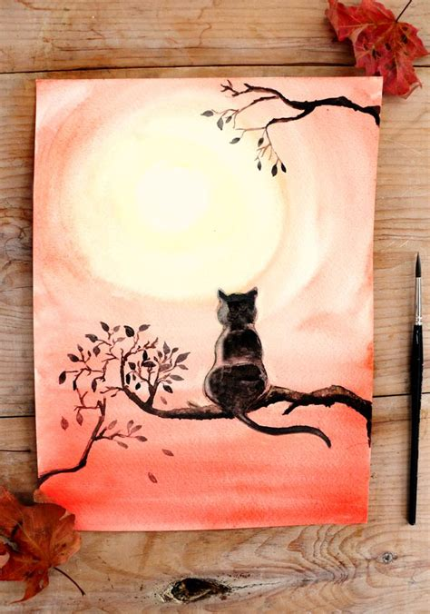watercolor tutorial pinterest diy black cat watercolor painting black cats watercolor