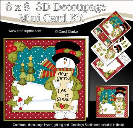 3d Decoupage Picture Kits - 8x8 snowman mini kit 3d decoupage