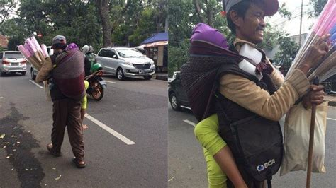 viral pedagang sapu lidi jualan sambil gendong anak