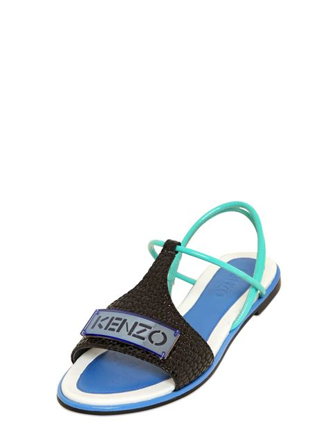 kenzo 10mm embossed patent leather sandals in blue lyst