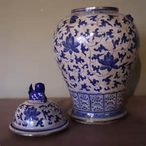 blue and white jars pair of chinese blue and white temple jars antique