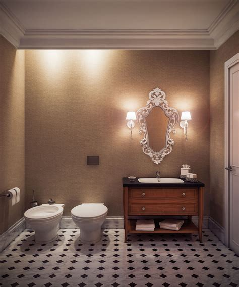 Guest Bathroom Design Ideas by Midcentury Artwork Mirror Frames Wooden Vanity As