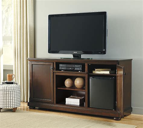signature design  ashley porter rustic brown extra large tv stand  fireplace  electric
