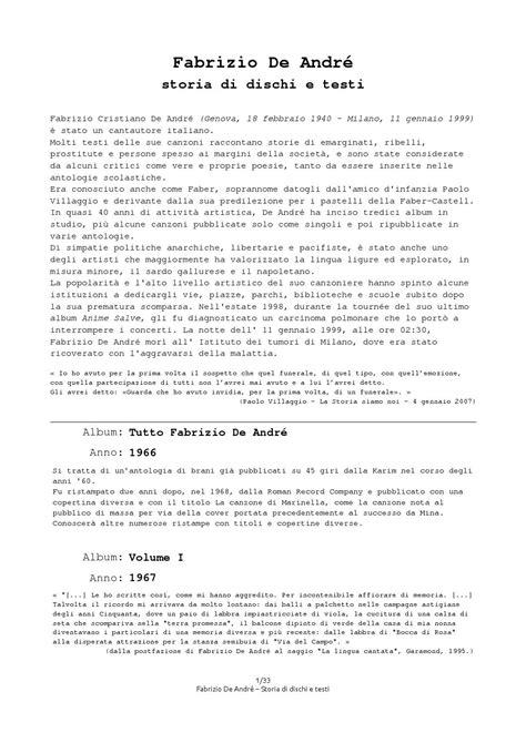 perduto testo fabrizio de andr 233 faber storia e spiegazione di dischi e