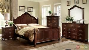roseland traditional brown cherry bedroom set with