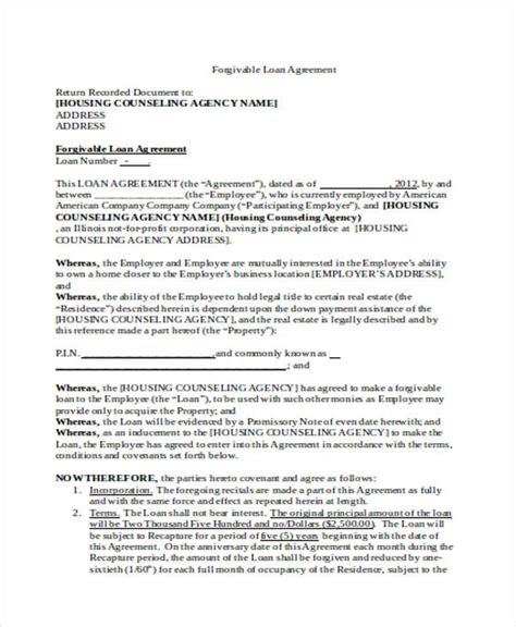 Loan Agreement Form Word Employee Loan Template