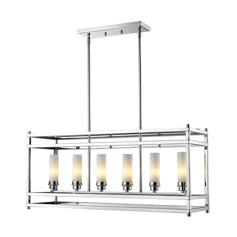 Chrome Kitchen Lights Shop Z Lite Altadore 35 In W 6 Light Chrome Kitchen Island Light With White Shade At Lowes