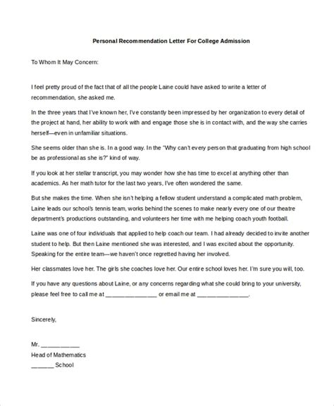 Sle Personal Recommendation Letter 4 Free Documents In Pdf Doc College Recommendation Letter Template