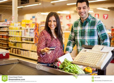 Time To Actually Buy Groceries by Buying Groceries With A Credit Card Stock Image Image
