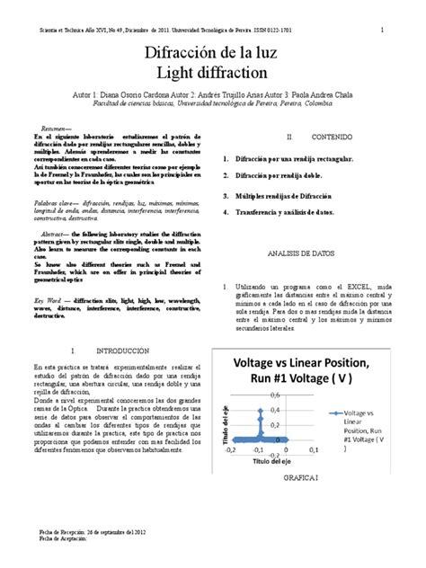 Informe 6 Difraccion de La Luz | Sombra | Difracción