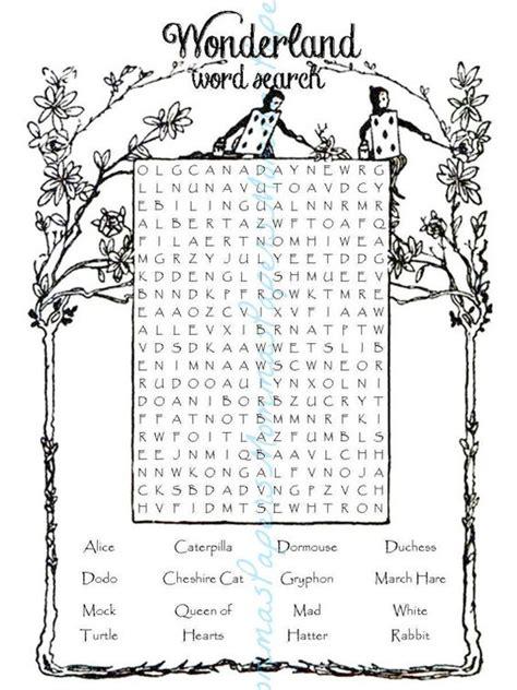 alice in wonderland printable word search word search digital download alice in wonderland by