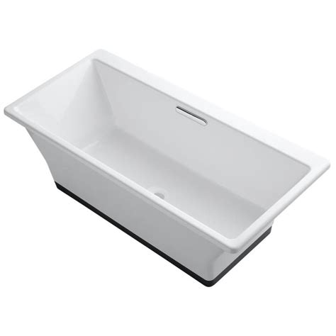 freestanding bathtubs cast iron shop kohler rve 66 9375 in white cast iron freestanding bathtub with center drain at