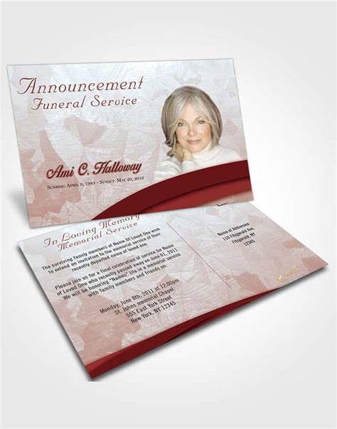 funeral announcement cards templates bifold order of service obituary template brochure ruby