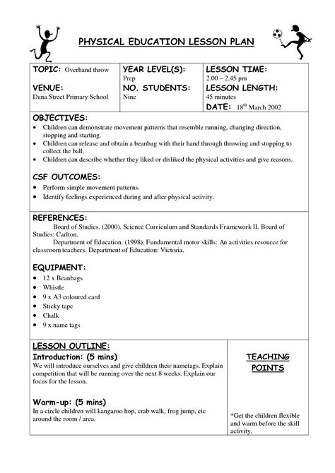 lesson plan template for pe physical education lesson plan template pictures to pin on