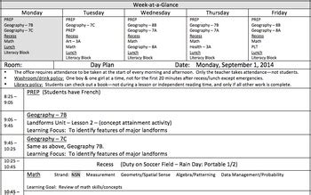 week at a glance lesson plan template day plan template with quot week at a glance quot for all grades