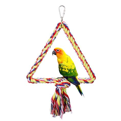 parrot swings bird parrot toy hanging swing cages rope pet chew bell