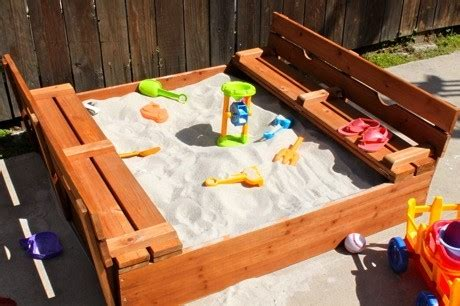 sandbox with folding benches sandbox w benches that fold down into a lid to keep cats out