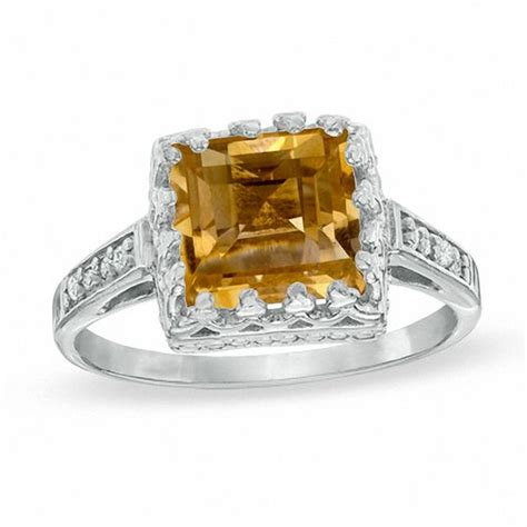 8 0mm princess cut citrine and white topaz crown ring in