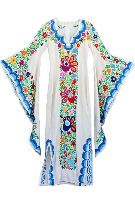 Wedding Dress Bohemian W Mexican Embroidery Women Batwing Kaftan Tops Designs