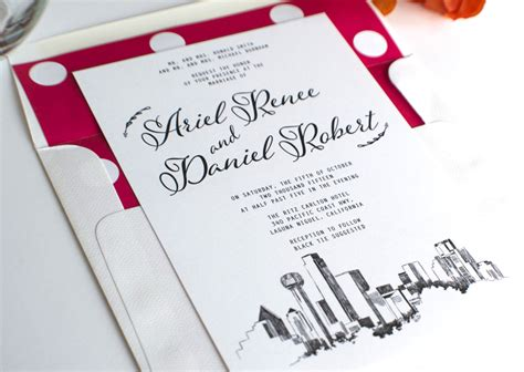 Wedding Invitations Dallas by Dallas Skyline Wedding Invitations