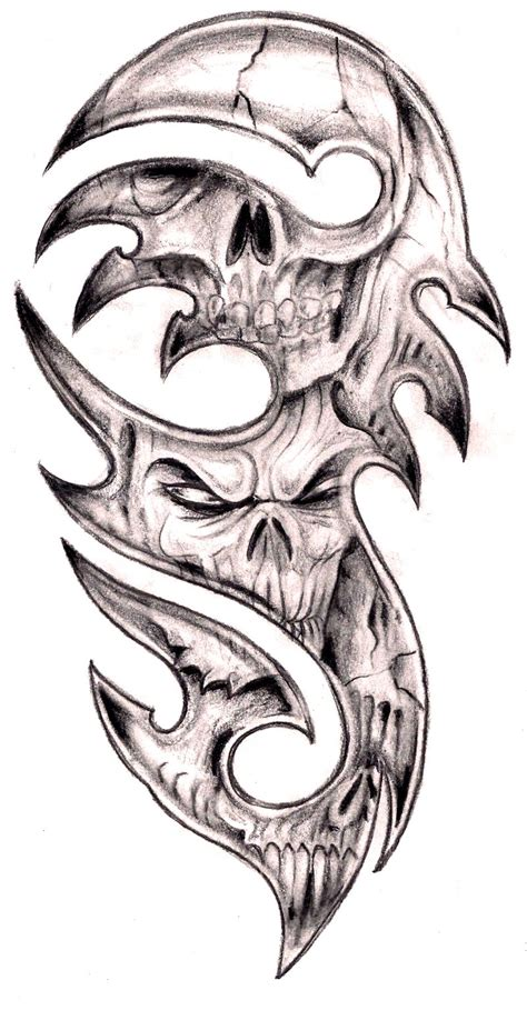 tribal skulls by tashitam on deviantart