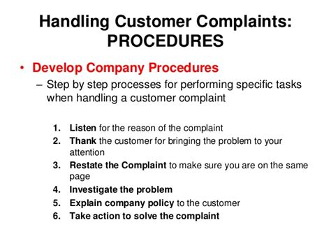 customer complaint procedure template sem 1 1 08 ppt
