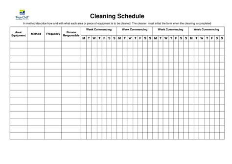 cleaning schedule template aplg planetariums org