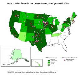 wind farm map map 1 wind farms in the united states as of year end 2009