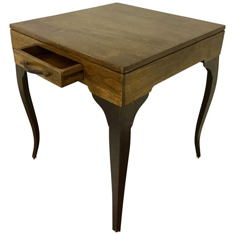 Accent Table With Storage Square Accent Side End Table Storage Drawer Wood Metal For Sofa Living Room Tables