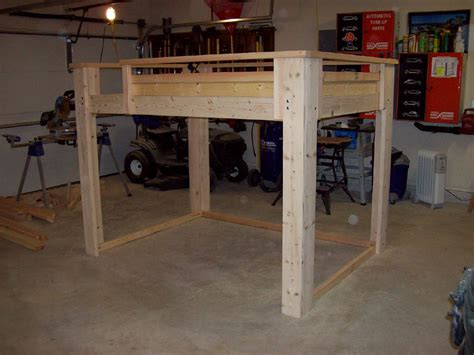 free diy full size loft bed plans quick woodworking projects