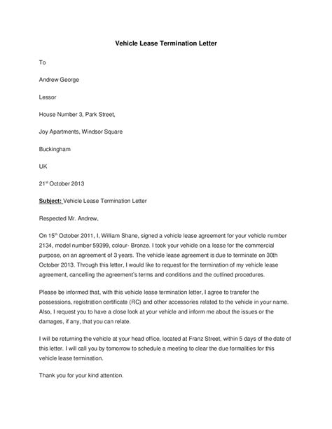 termination of business letter