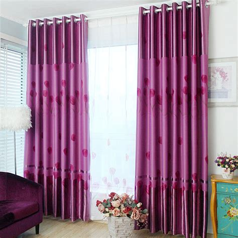 purple thermal curtains thick polyester thermal blackout qualities floral pattern