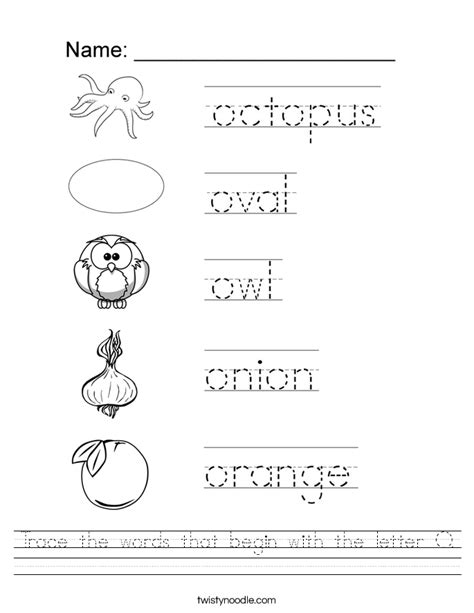 coloring pages that start with the letter o trace the words that begin with the letter o worksheet