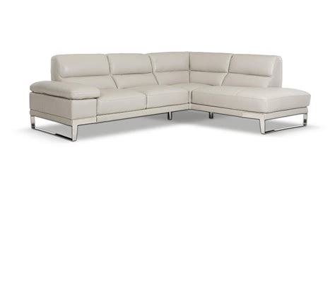 Grey Leather Sectional Sofa Dreamfurniture Elegance Modern Leather Grey Sectional Sofa