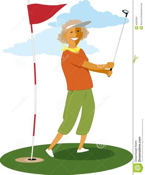 golf swing cartoon senior female golfer stock vector illustration of well