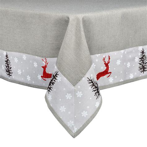 grey pattern tablecloth grey reindeer pattern tablecloth festive xmas decoration